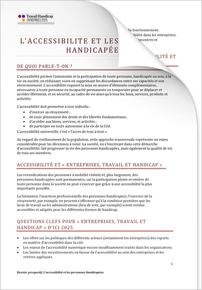 ETH 2025 - Les personnes handicapées « L'ACCESSIBILTÉ » (PDF)