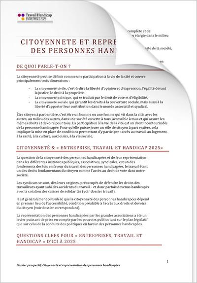 ETH 2025 - Les personnes handicapées « Citoyenneté et représentation » (PDF)
